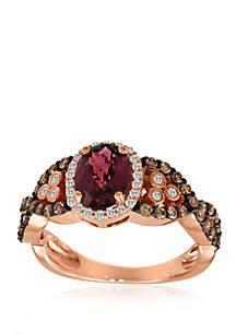 1/2 ct. t.w. Chocolate Diamonds®, 1/8 ct. t.w. Vanilla Diamonds™  and 1/3 ct. t.w. Raspberry Rhodolite® Ring in 14k Strawberry Gold®