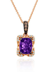 Candy Colors Amethyst®, Vanilla Diamond®, and Chocolate Diamond® Pendant in 14k Strawberry Gold®