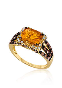 Le Vian® Cinnamon Citrine®, Chocolate Diamond® and Vanilla Diamond® Accent Ring in 14k Honey Gold™