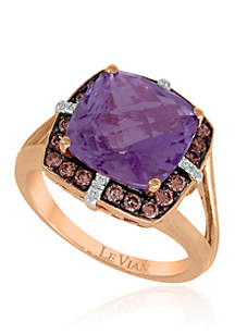 3/8 ct. t.w. Grape Amethyst™, 1/3 ct. t.w. Chocolate Diamonds® and White Diamonds® Ring in 14k Strawberry Gold®