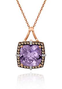 14k Strawberry Gold® Cotton Candy Amethyst®, Chocolate Diamond® and Vanilla Diamond™ Pendant