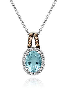 Le Vian® 14k Vanilla Gold® Sea Blue Aquamarine®, Vanilla Diamond®, and Chocolate Diamond® Pendant