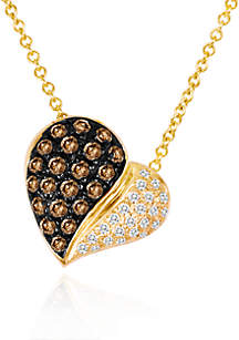 Chocolate Diamond® and Vanilla Diamond® Heart Pendant in 14k Honey Gold™