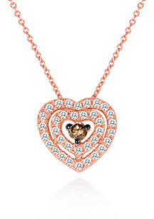 Vanilla Diamond® and Chocolate Diamond® Heart Pendant in 14k Strawberry Gold®