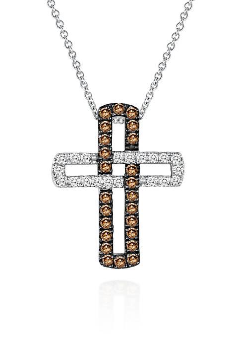 Chocolate Diamond® and Vanilla Diamond® Cross Pendant in 14k Vanilla Gold®