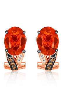 14k Strawberry Gold® Neon Tangerine Fire Opal®, Chocolate Diamond®, and Vanilla Diamond® Earrings