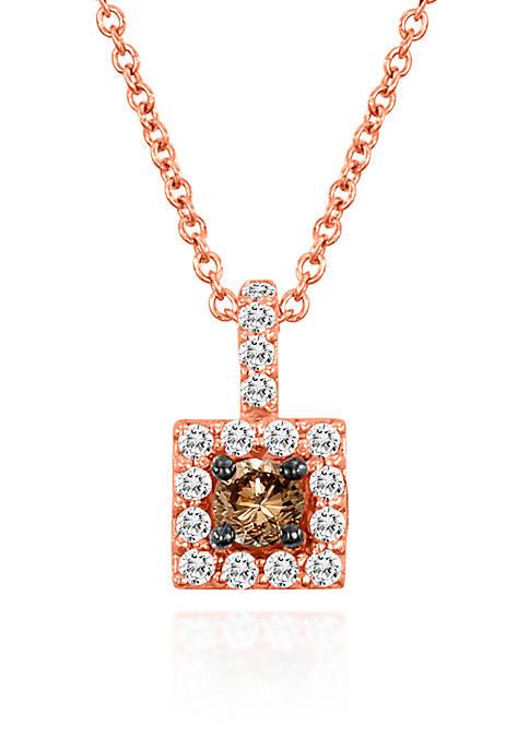 Vanilla Diamond® and Chocolate Diamond® Pendant in 14k Strawberry Gold®