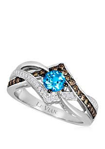 3/4 ct. t.w. Chocolate Diamonds®, Vanilla Diamonds® and Ocean Blue Topaz™ Ring in 14k Vanilla Gold®