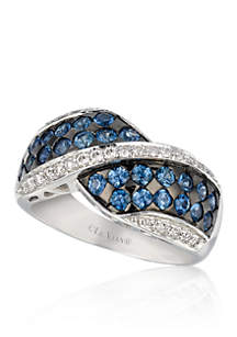 Cornflower Blue Sapphire™ and Vanilla Diamond® Ring in 14k Vanilla Gold®