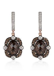Le Vian Chocolate Quartz Diamond And Vanilla Earrings