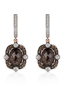 Chocolate Quartz®, Chocolate Diamond®, and Vanilla Diamond® Earrings in 14k Strawberry Gold®