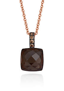 Chocolate Quartz® and Chocolate Diamond® Pendant in 14k Strawberry Gold®