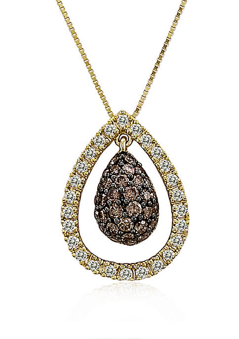 1/2 ct. t.w Chocolatier® Chocolate Diamonds® and 1/4 ct. t.w Vanilla Diamonds Pendant Necklace in 14k Honey Gold™