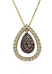 1/2 ct. t.w Chocolatier® Chocolate Diamonds® and 1/4 ct. t.w Vanilla Diamonds Pendant Necklace in 14k Honey Gold™