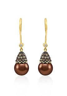 14k Honey Gold ™ Tahitian Chocolate Pearl®, Chocolate Diamond® and Vanilla Diamond™ Earrings