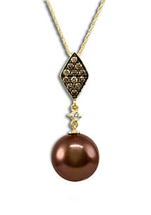 Chocolate Pearl®, 1/3 ct. t.w. Chocolate Diamonds®, and 0.04 ct. t.w. Vanilla Diamonds® Pendant Necklace in 14k Honey Gold™