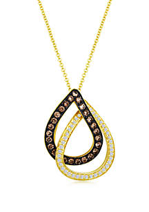 5/8 ct. t.w. Chocolatier® Vanilla Diamonds® and Chocolate Diamonds® Pendant Necklace in 14k Honey Gold™