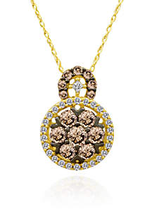 Chocolate Diamond® and Vanilla Diamond® Cluster Pendant in 14k Honey Gold™