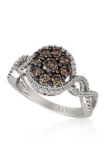 Vanilla Diamond® and Chocolate Diamond® Cluster Ring in 14k Vanilla Gold®