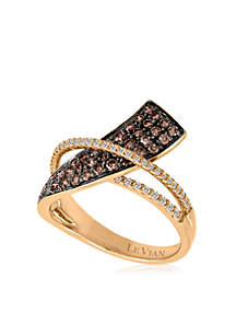 Chocolatier Chocolate and Vanilla Diamonds Ring in 14k Strawberry Gold