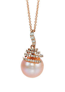 Strawberry Pearls® and 1/4 ct. t.w. Vanilla Diamonds® Pendant in 14k Strawberry Gold®