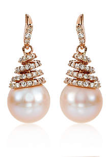 Strawberry Pearls Earrings in 14k Strawberry Gold