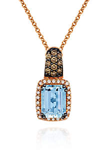 Le Vian® Sea Blue Aquamarine®, Vanilla Diamond®, and Chocolate Diamond® Pendant in 14k Strawberry Gold®