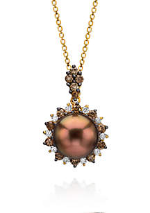 Chocolate Pearl, Vanilla Diamonds, and Chocolate Diamonds Pendant Necklace in 14k Honey Gold