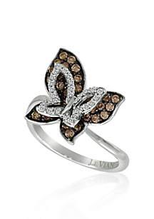 Chocolate Diamond® and Vanilla Diamond® Butterfly Ring in 14k Vanilla Gold®