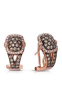 Chocolatier® 3/4 ct. t.w. Chocolate Diamonds® and 1/4 ct. t.w. Vanilla Diamonds® Earrings in 14k Strawberry Gold®