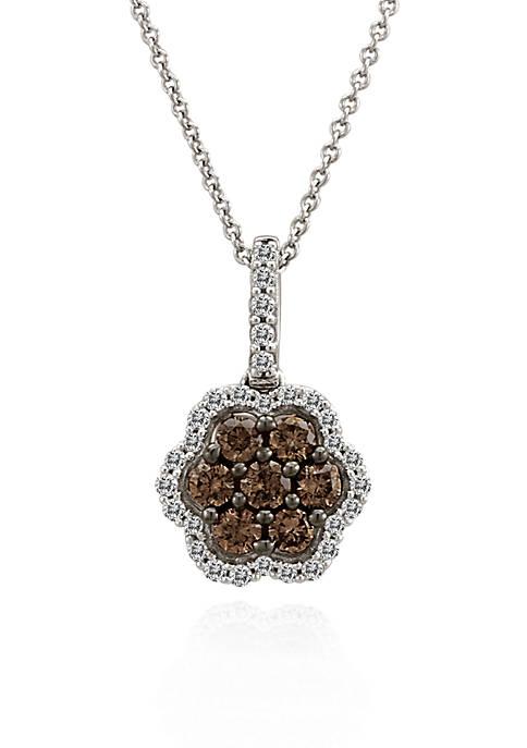 Chocolate Diamond® and Vanilla Diamond™ Flower Pendant in 14k Vanilla Gold™