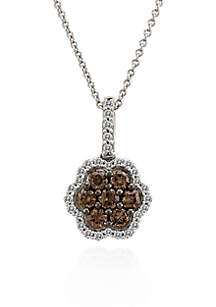 Chocolate Diamond® and Vanilla Diamond™ Flower Pendant in 14k Vanilla Gold™