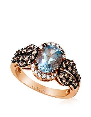886271071ef9b1 Le Vian® 3/8 ct. t.w. Sea Blue Aquamarine®, 1/2 ct. t.w. Chocolate ...