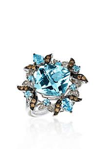 14k Vanilla Gold™ Ocean Blue Topaz™, Chocolate Diamond® and Vanilla Diamond™ Ring