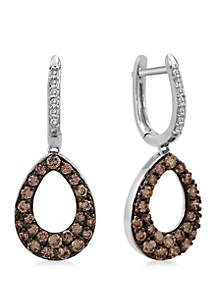 1.17 ct. w.t. Chocolate and Vanilla Diamond 14k White Gold Earrings