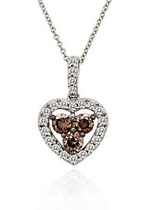 Chocolate Diamond® and Vanilla Diamond® Heart Pendant in 14k Vanilla Gold®