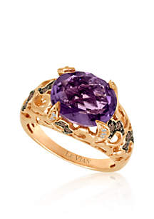 Amethyst, Chocolate Diamond®, and Vanilla Diamond® Accent Ring in 14k Strawberry Gold®