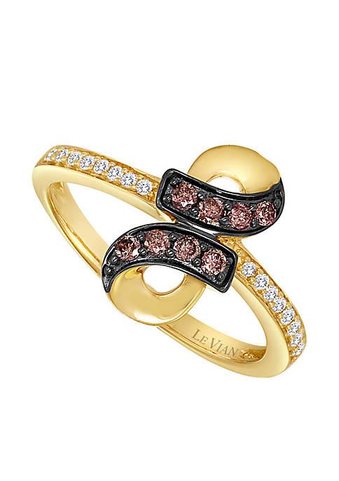 Chocolatier® 1/6 ct. t.w. Chocolate Diamonds® and 1/10 ct. t.w. Vanilla Diamonds® Ring in 14k Honey Gold™
