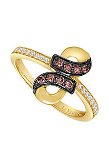 Le Vian® Chocolatier® 1/6 ct. t.w. Chocolate Diamonds® and 1/10 ct. t.w. Vanilla Diamonds® Ring in 14k Honey Gold™