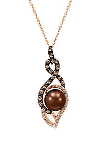 Chocolate Pearl®, 1/10 ct. t.w. Vanilla Diamonds® and 1/3 ct. t.w. Chocolate Diamonds® Pendant Necklace in 14k Strawberry Gold®