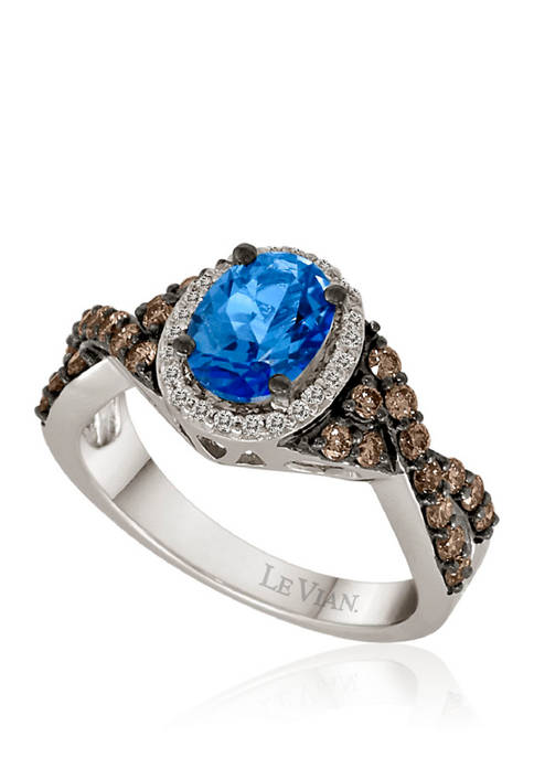 5/8 ct. t.w. Diamonds and 1 ct. t.w. Signity Blue Topaz Ring in 14k White Gold