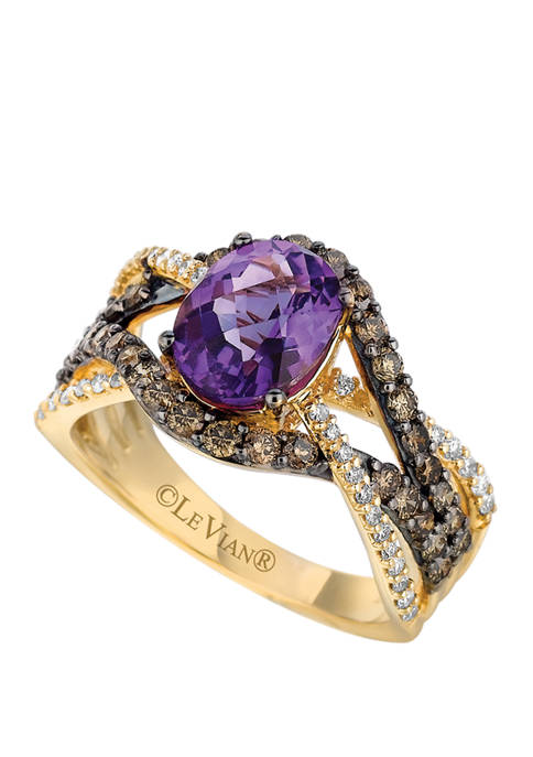 7/8 ct. t.w. Diamonds and 1.45 ct. t.w. Amethyst Ring in 14k Yellow Gold
