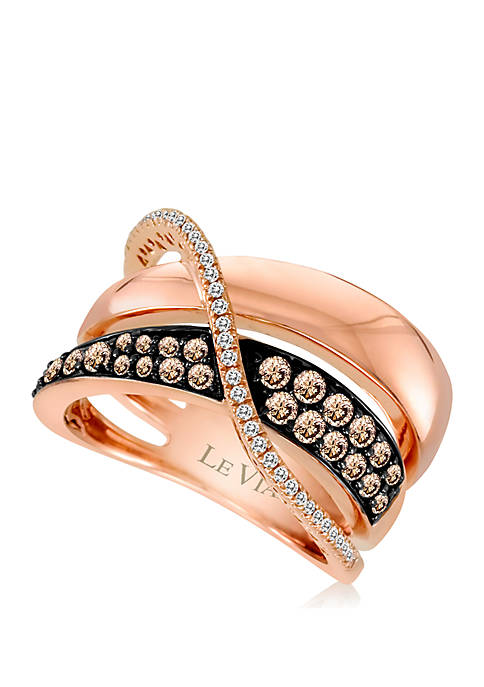 Chocolatier® Gladiator Weave™ 1/2 ct. t.w. Chocolate Diamonds® and 1/8 ct. t.w. Vanilla Diamonds® Ring in 14k Strawberry Gold®