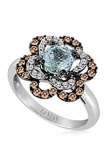 3/4 ct. t.w. Sea Blue Aquamarine®, 1/8 ct. t.w. Vanilla Diamonds®, and 3/8 ct. t.w. Chocolate Diamonds® Flower Ring in 14k Vanilla Gold®
