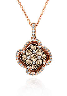 Chocolate Diamond® and Vanilla Diamond® Cluster Pendant in 14k Strawberry Gold®