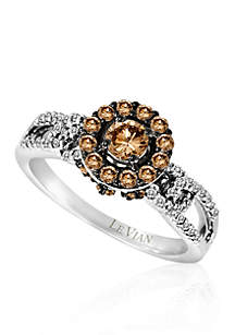 Chocolate Diamond® and Vanilla Diamond® Cluster Ring in 14k Vanilla Gold®