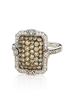 Chocolate Diamond® and Vanilla Diamond® Rectangle Ring in 14k Vanilla Gold®
