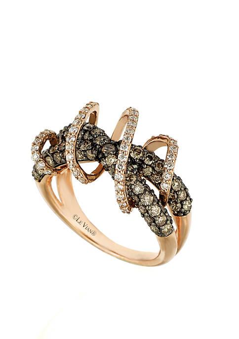 Chocolatier® 3/8 ct. t.w. Chocolate Diamonds® and 1/3 ct. t.w. Vanilla Diamonds® Ring in 14k Strawberry Gold®