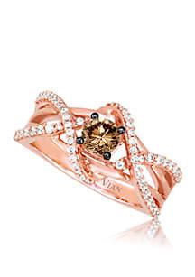 Chocolate Diamond® and Vanilla Diamond® Ring in 14k Strawberry Gold®