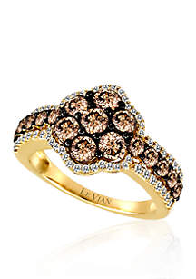 Chocolate Diamond® and Vanilla Diamond® Cluster Ring in 14k Honey Gold™